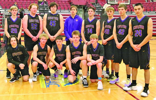 The Custer High School boys basketball team won the Chadron Rotary George Watson Holiday Basketball Classic last week in Chadron, Neb. From left, back, are Brody Storm, AJ Kortemeyer, Brody Martinez, Michael Weber, Dustyn Fish, Kaleb Wragge, Tristen Schelske, EJ Gonzalez; front, Ashton Dekker, Dathan Elmore, Jace Kelley, Daniel Sedlacek and Gavin Klein.
