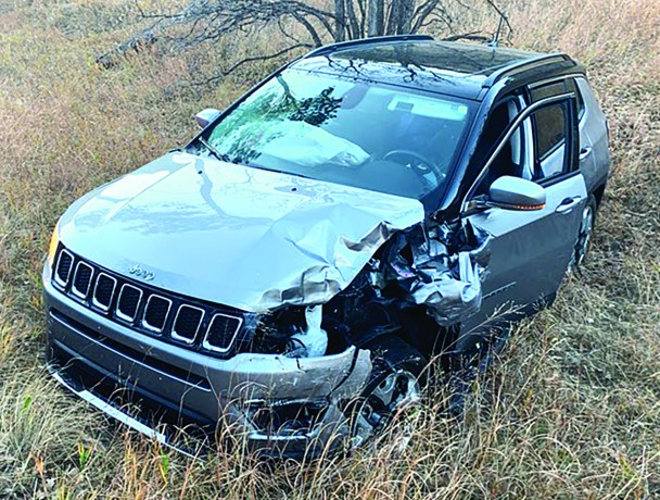 Everyone walked away from the head-on collission involving these two vehicles from last Wednesday in Custer State Park. The female driver of the Jeep suffered a broken wrist, however. A driver of the Chevy Suburban, above, was distracted by wildlife and allowed the SUV to cross the center line of Hwy. 16A where it was struck by the Jeep.