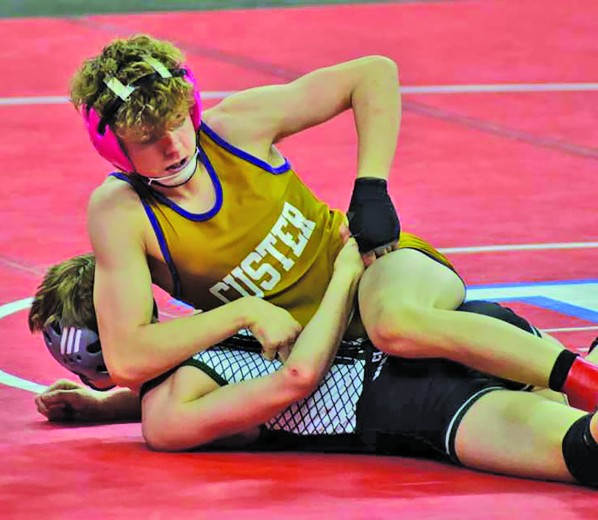 Sophomore Logan Graf, top, wrestled his way to a state championship at 106 pounds last week at the state Class B wrestling tournament in Sioux Falls. Graf is the first Custer wrestler to win a state title under the coaching of Jared Webster.