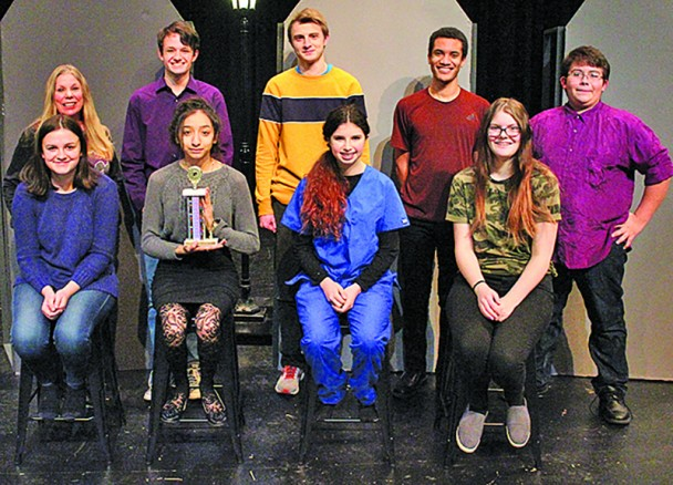 """The cast, crew and director of Custer High School's play """"About Her"""" show the trophy they won at the Region 6A One Act Play contest. In addition to advancing to the State A One Act Play Festival in Rapid City this week, every cast member received a superior individual actor medal. From left, back, are director Susan Bowen, Tim Johnson, Miles Ellman, Mical Grace, Lesane Hernandez; front, Hailey Hislop, Odalys Estrada, Taylee Schramm and tech crew member Olivia Lubben."""