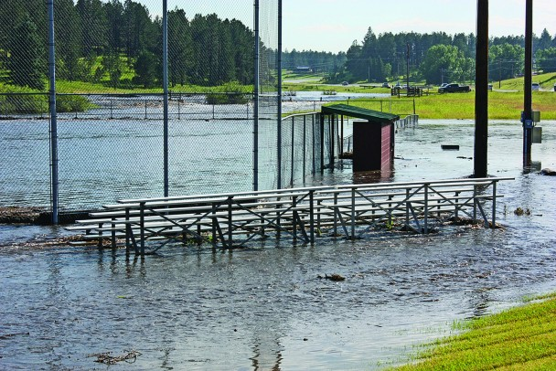 The baseball field at Gates Park on the west side of Custer sustained severe damage when floodwaters from nearly seven inches of rain and hail that fell in the Upper French Creek watershed flowed through it on Aug. 2, 2019.